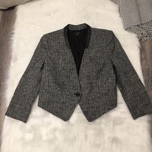 Ann Taylor Faux Leather Collar Blazer Suit Jacket